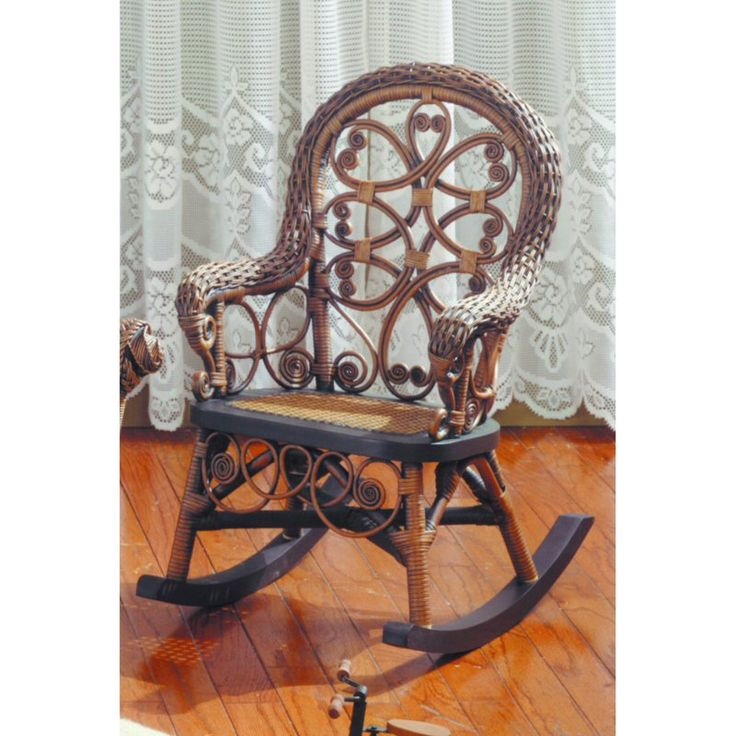 Outdoor Victorian Wicker Childs Rocking Chair   VCHR B/W