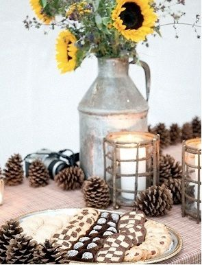 Rustic Pine cone and Flower Wedding Centerpieces | Budget Brides Guide ...
