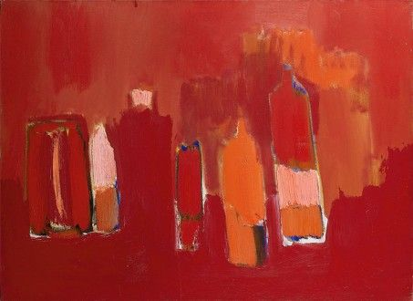 Nicolas de Staël - Artist XXè - Abstract Art - Bouteilles rouges