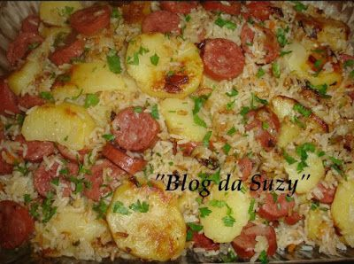 Blog da Suzy : Arroz Completo (panela de pressão) - Que tal substituir a linguiça por tofu defumado??