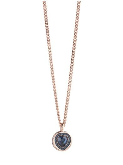 Coins of Love Heart Stone and Pave Rose Gold-Plated Necklace