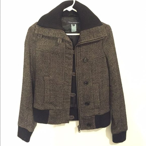 French Connection wool bomber jacket, size 2 French Connection wool bomber jacket. Black and tan tweed with black trim. Side pockets. Great condition! If this beauty fit, I would not be parting with it! French Connection Jackets & Coats