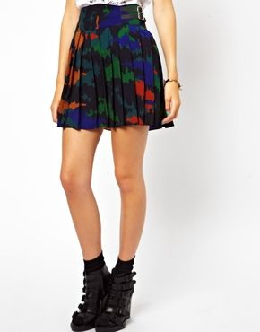 Image 4 of ASOS Pleated Kilt in Camo Print