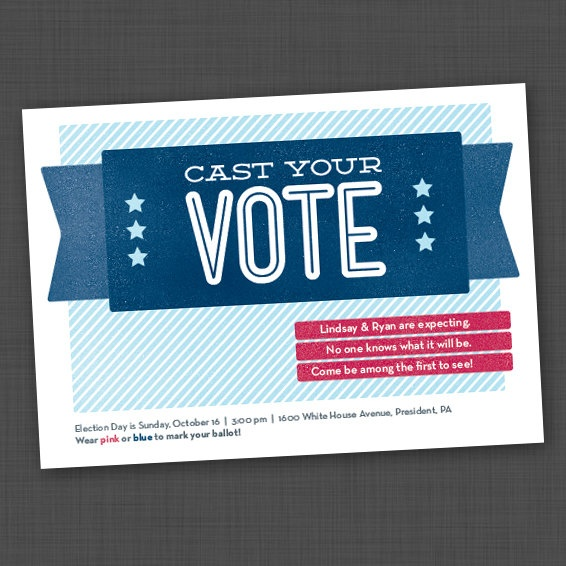 Political campaign Gender Reveal Party Invite