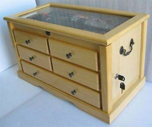 Large-Knife-Display-Case-Storage-Cabinet-w-Shadow-Box-on-the-top-Solid-wood-KC7