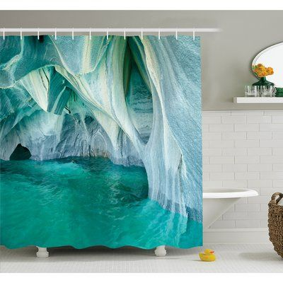 """Ambesonne Apartment Marble Caves at European Mediterranean Lake Geologic Eroded Art Photo Shower Curtain Set Size: 84"""" H x 69"""" W x 1"""" D"""