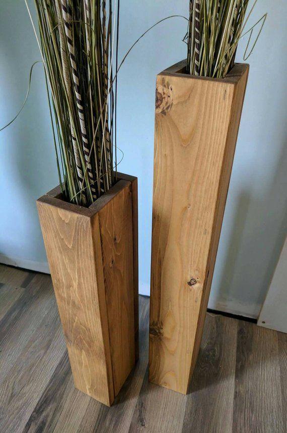 Conjunto De 28 Y 24 De Tall Rustic Floor Vases Wooden Vases
