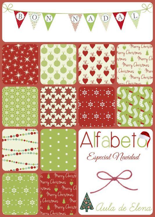 Alfabeto en forma de banderines especial Navidad, del Aula de Elena. ¡Freebie listo para descargar!