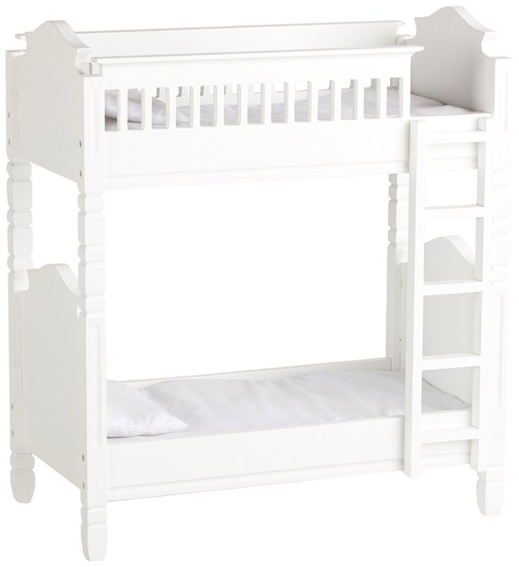 Laurent Doll – White Wooden Bunk Bed Fits 18″ Doll