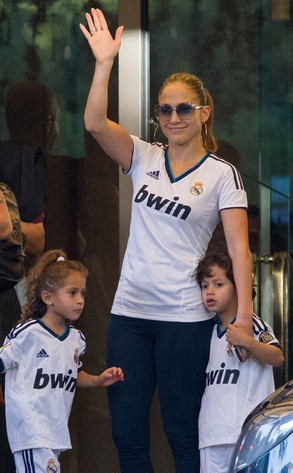 Jennifer Lopez, Emme and Max Look Sporty in Real Madrid Jerseys
