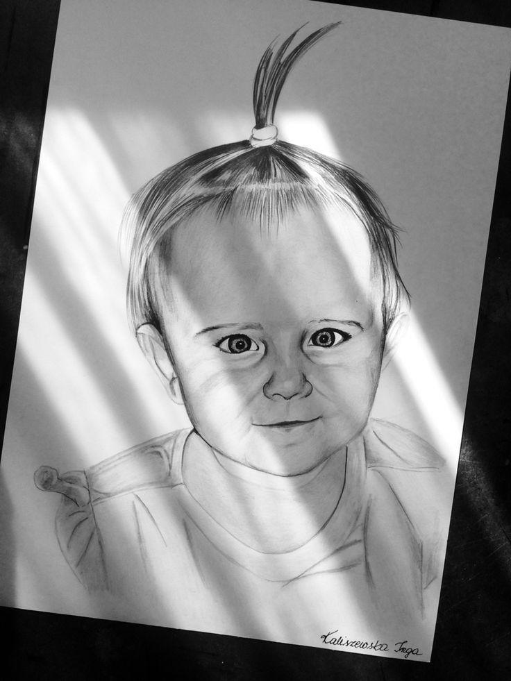Girl on a3 paper . Drawing by Inga Kaliszewska