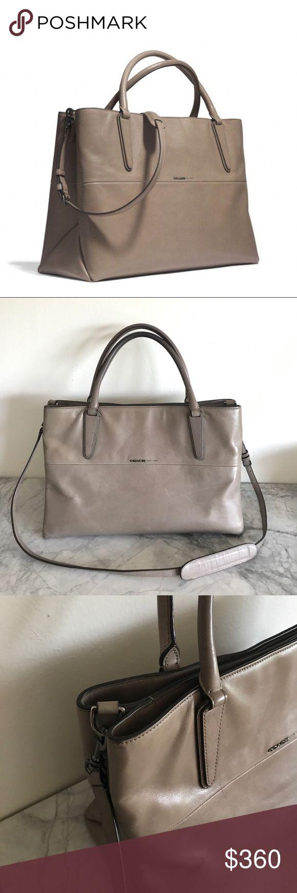 "Coach- Borough bag Soft leather. Size: 13.75""x9""x5.5"" Elegant and clean design. Minor wear, excellent condition. Comes with original dust bag. Coach Bags"