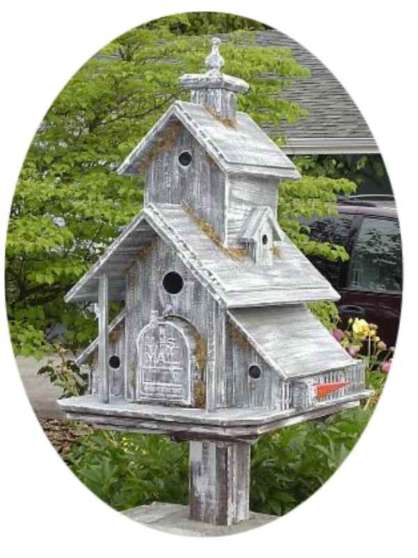 Birdhouse in Gray....Around Your Mailbox!!  See the mailbox?!?!