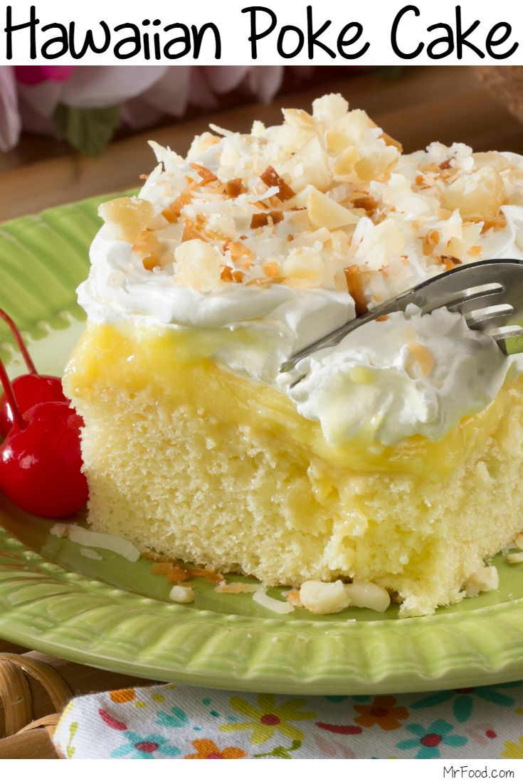 Let our Hawaiian Poke Cake whisk you away to a tropical paradise! Featuring lots of creamy coconut flavor, plus pineapple and macadamia nuts, this poke cake is a real favorite.