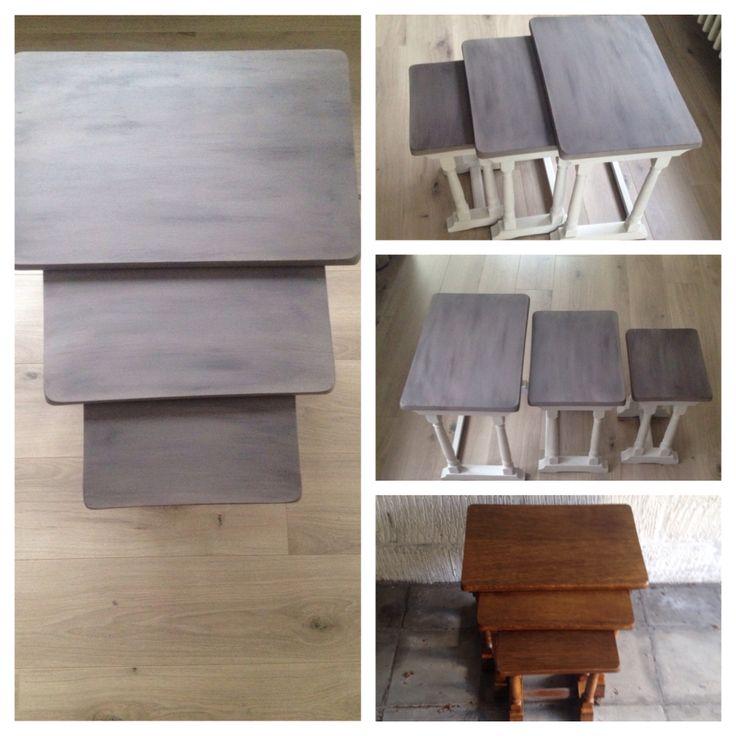old oak side tables get new, fresh cottage look!