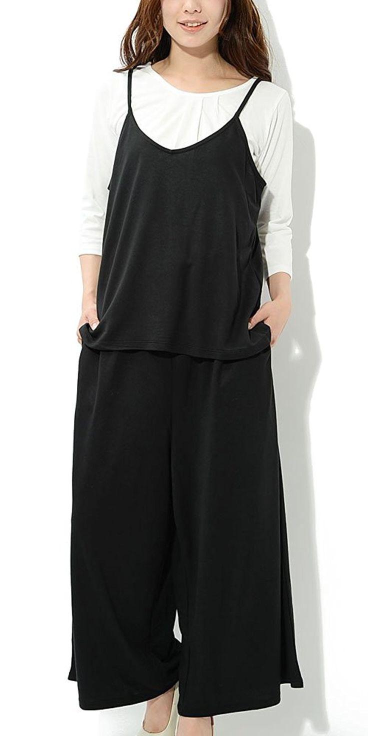 ブラック L JACK PORT(ジャックポート) UV 加工 3点セット キャミ Tシャツ 七分袖 ワイドパンツ ゆったり レディース セット オールインワン サロペット コンビネゾン ワンピース ワイド ガウチョ パンツ カットソー 7分袖 カット 紫外線対策 JK122265006001