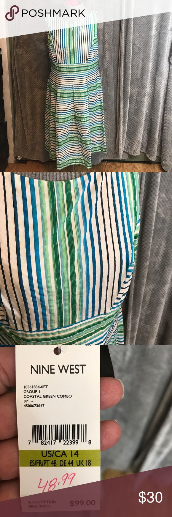 "NWT Nine West stripe pleated tank dress This dress is adorable. The fabric is sort of wrinkly puckered feeling. I say that because it's not this smooth silky stuff. Bust is 19.5"". Waist 17"". Length 41"". Large box pleats on skirt part. Nine West Dresses Midi"