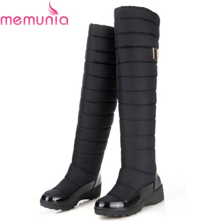 MEMUNIA Russia winter boots keep warm knee high boots round toe down fur ladies fashion women snow boots shoes #>=#>=#>=#>=#> Click on the pin to check out discount price, color, size, shipping, etc. Save and like it!