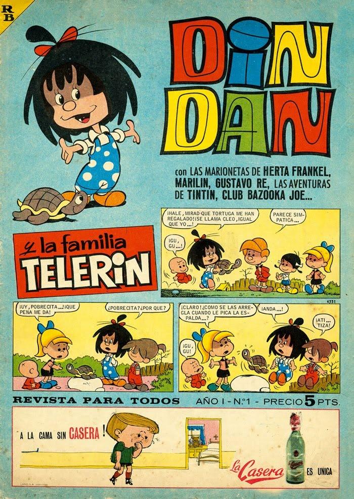 """cMag719 - Din Dan Comic """"La Familia Telerin"""" cover by Blas Sanchis / Issue 1 / 1965"""