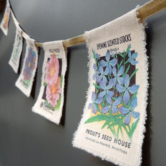 Vintage flower seed packet country garden bunting flags