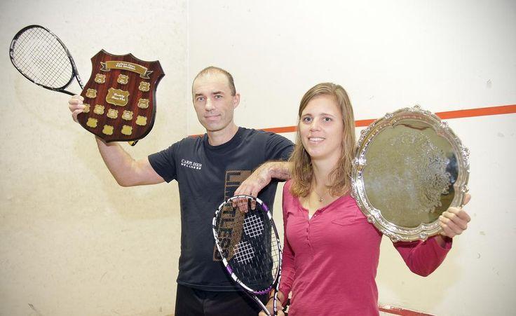 Golden Open squash winners Mike Corren and Lotte Eriksen.