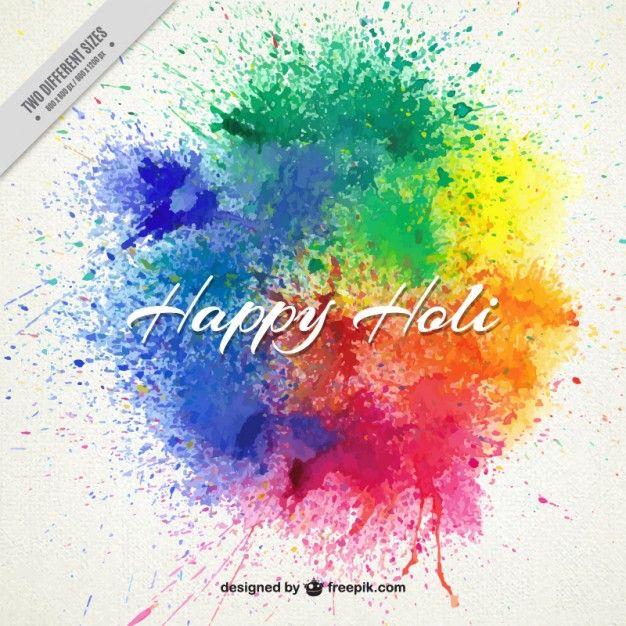 Respingos de tinta Holi feliz fundo Vetor grátis