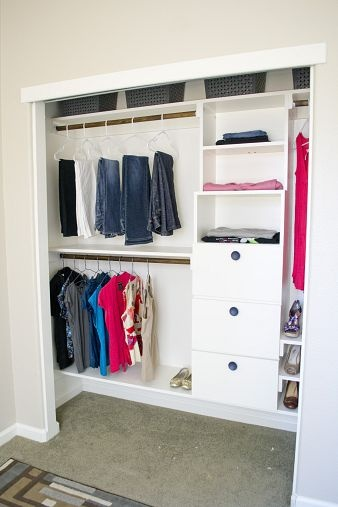DIY Closet Kit for Under $50 Sister-in-Law was moving in, and we needed to pack the 10'x10' bedroom with tons of built-in storage! We decide...