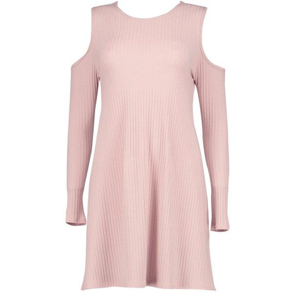 Boohoo Lily Cold Shoulder Soft Rib Knit Swing Dress | Boohoo ($26) ❤ liked on Polyvore featuring tops, sweaters, cold shoulder tops, turtleneck sweater, chunky sweaters, pink jumper and party jumpers