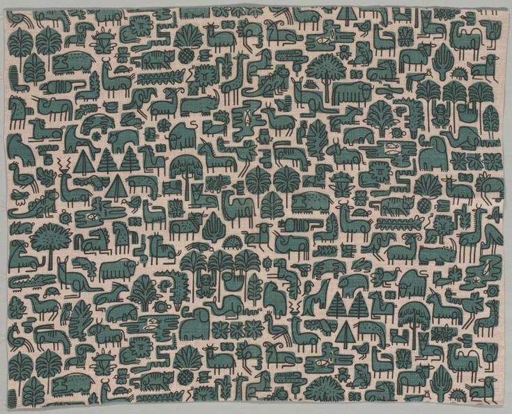 Vertebrates, 20th century  designed by Elenhank (American)  plain weave linen, printed, Overall - h:90.17 w:127.00 cm
