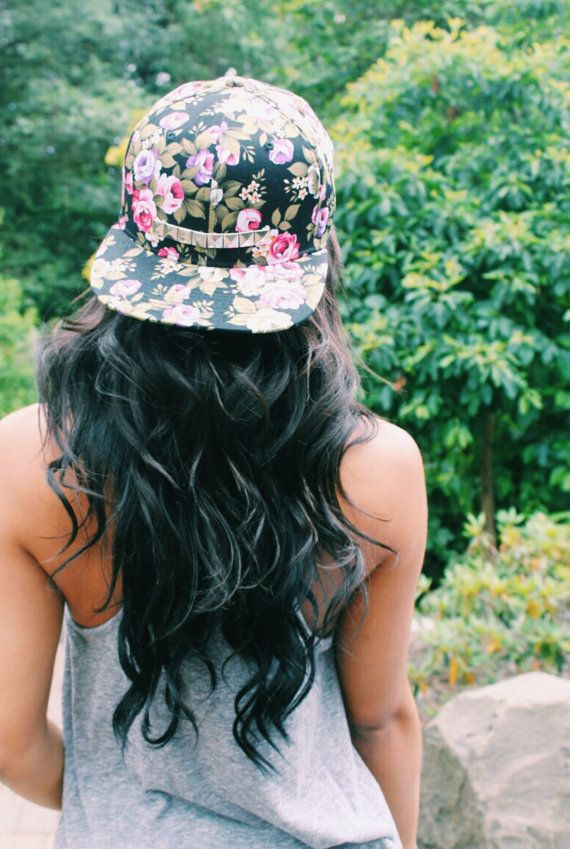 Total 'shut up and take my money' moment!  Black Floral Studded Floral Snapback