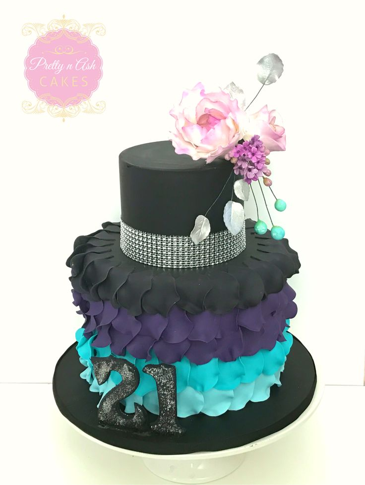 Black, purple and turquoise blue fondant ruffles looked gorgeous on this very special 21st birthday cake.   #prettynashcakes #melbournecakes #melbournecakedecorator #melbourneweddings #melbourneweddingcakes #sugarflowers #acdnmember #engaged  #beautiful #amazing #stunning  #birthdaycakes #melbournecakedecorator #cakesinmelbourne  #blackpurplecakes #fondantruffles #21stbirthday #18thbirthday