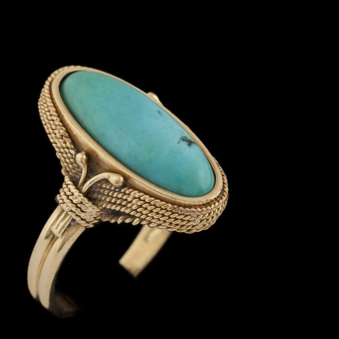 Gold and turquoise cabochon ring - Silver, jewels and watches - jewels