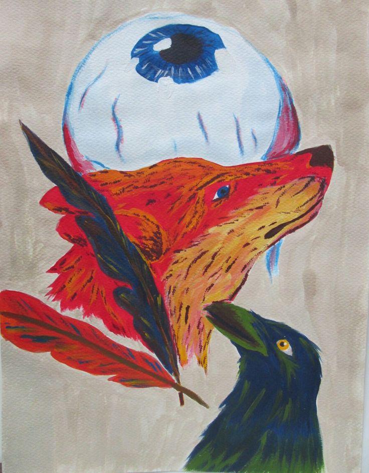 #Wolf #crow #paint #painting #acrílicos