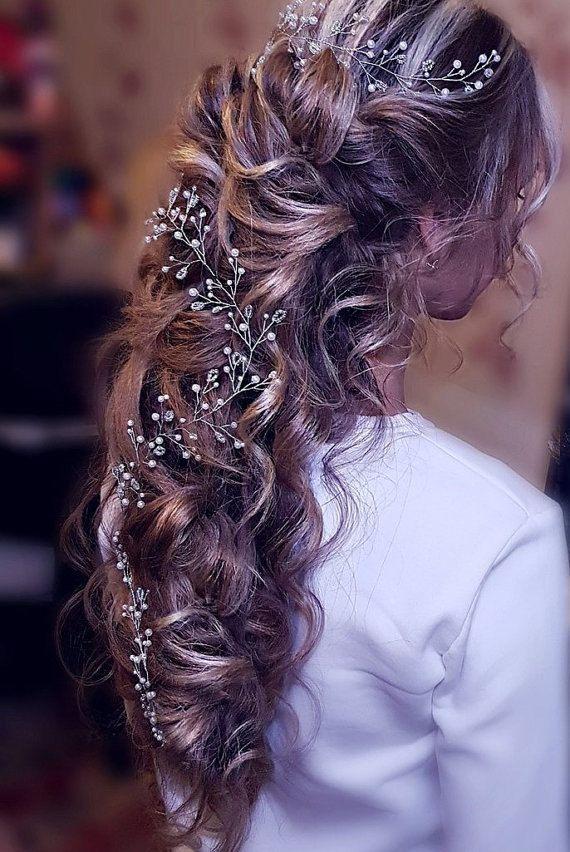 Extra long hair vine. wedding hair vine. by CrystalLadyHandmade