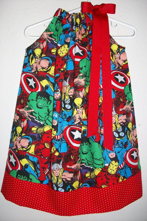 Pillowcase Dress SUPERHERO Avengers Spiderman Hulk Captain America baby toddler girl on Etsy, $18.00