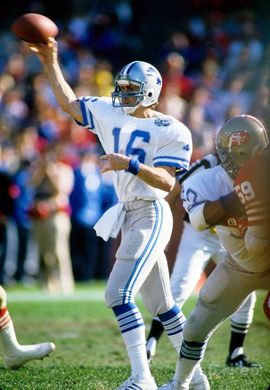 Detroit Lions quarterback Gary Danielson (16) in action against the San Francisco 49ers during the 1983 NFC Divisional Playoff game at Candlestick Park.