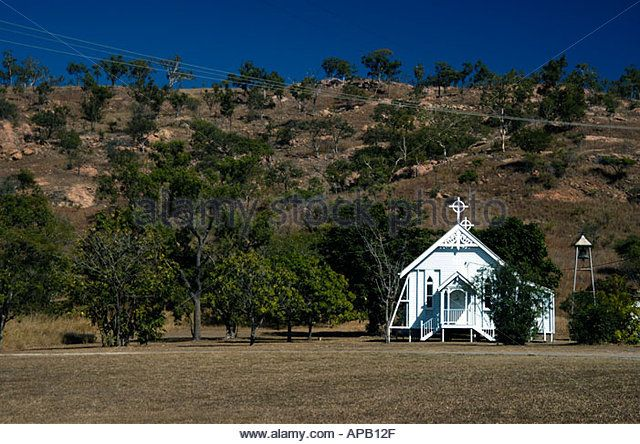 Small white wooden church near Townsville Queensland Australia  - Stock Image