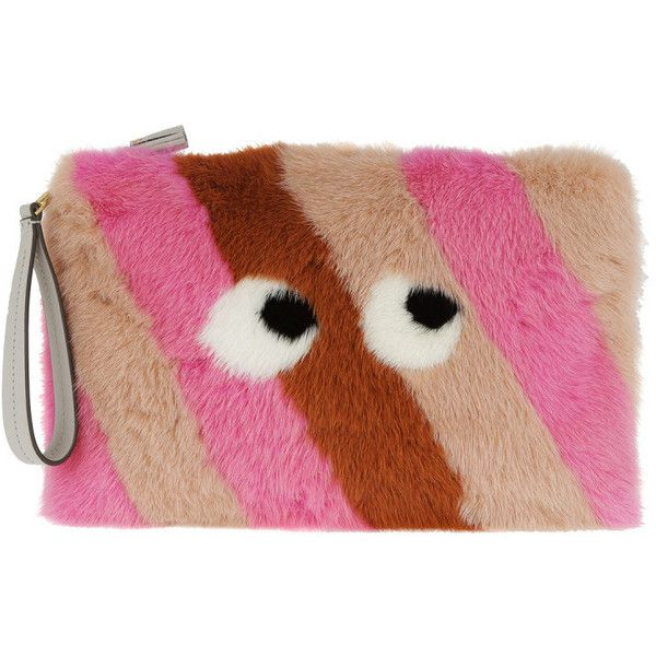 Anya Hindmarch Evening Bag - Large Furry Clutch Eyes Clementine Mink -... (5.085 RON) ❤ liked on Polyvore featuring bags, handbags, clutches, colorful, multi color evening bag, multi color handbag, evening handbags clutches, anya hindmarch handbags and strap purse