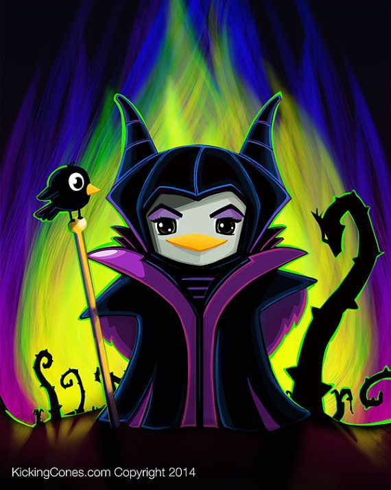 [NO LONGER AVAILABLE] Maleficent Penguin by Kicking Cones, signed 8X10 print, donated by Epbot reader Isabella