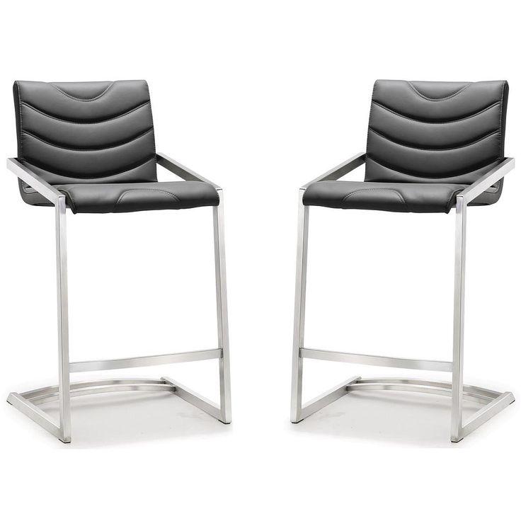 TOV Furniture Modern Rio Grey Stainless Steel Counter Stool - Set of 2 TOV-K3609