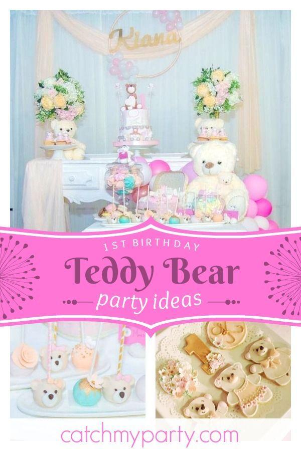 Teddy Bear Birthday Kiana S Teddy Bear 1st Birthday Party Catch My Party Teddy Bear Birthday Teddy Bear Birthday Party 1st Birthday Party For Girls