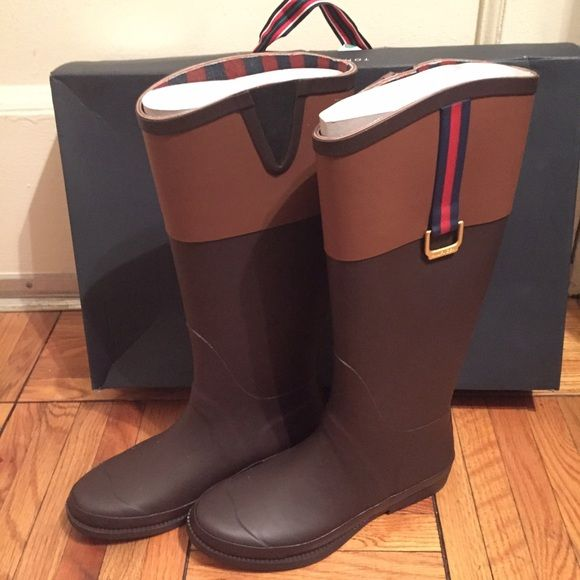 Brand new stylish rain boots Brand new Tommy Hilfiger, Viktoria rain boots. Bought online final sale, but the calf is too tight for me. Stylish rain boots! Tommy Hilfiger Shoes Winter & Rain Boots