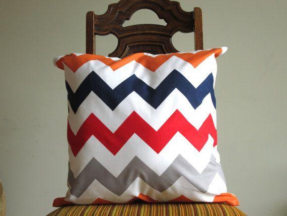 Orange Navy Red Grey chevron pillow throw big 18 x 18 modern bold White zig zag Riley Blake Handmade cotton Home Decorative ONE. $18.00, via Etsy.