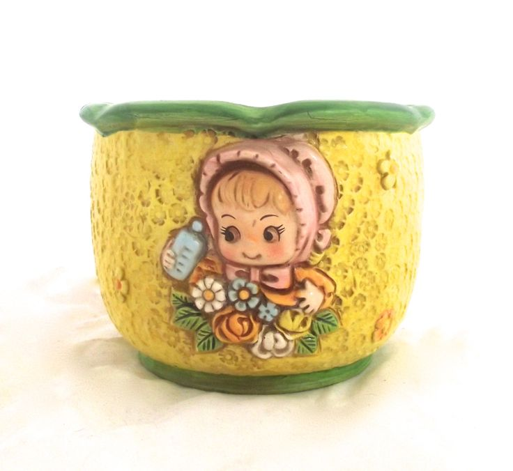 Vintage Ceramic Planter in Yellow and Green with Cute Little Girl Illustration, D-Ann Japan (G4) by planetalissa on Etsy