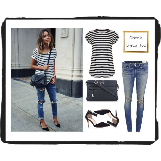 #chic #spring #look  Nothing beats a classic Breton Top, ripped skinny jeans, simple black shoes & cross body bag! I'am so getting one of these tops, so simple, yet stylish! See here how much you can save with @LoveMyLook http://lovemylook.co.uk/here-is-how-to-copy-this-totally-chic-spring-look.html