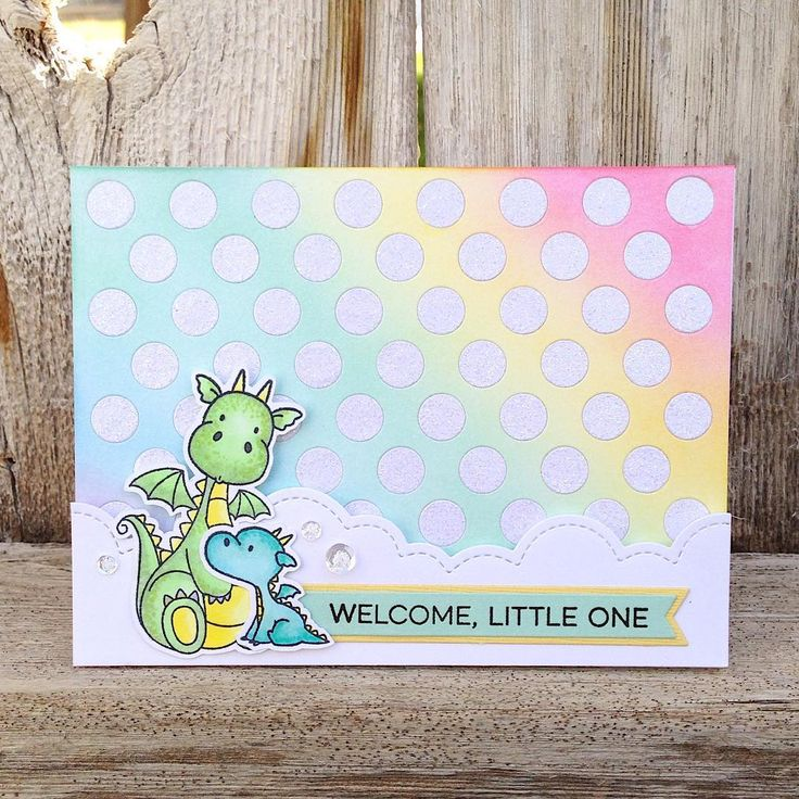 I couldn't wait to create something with these adorable dragons from the latest @mftstamps release.  I went with pastels to create a baby…
