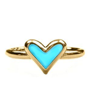 Mini Heart Enamel Ring in Turquoise