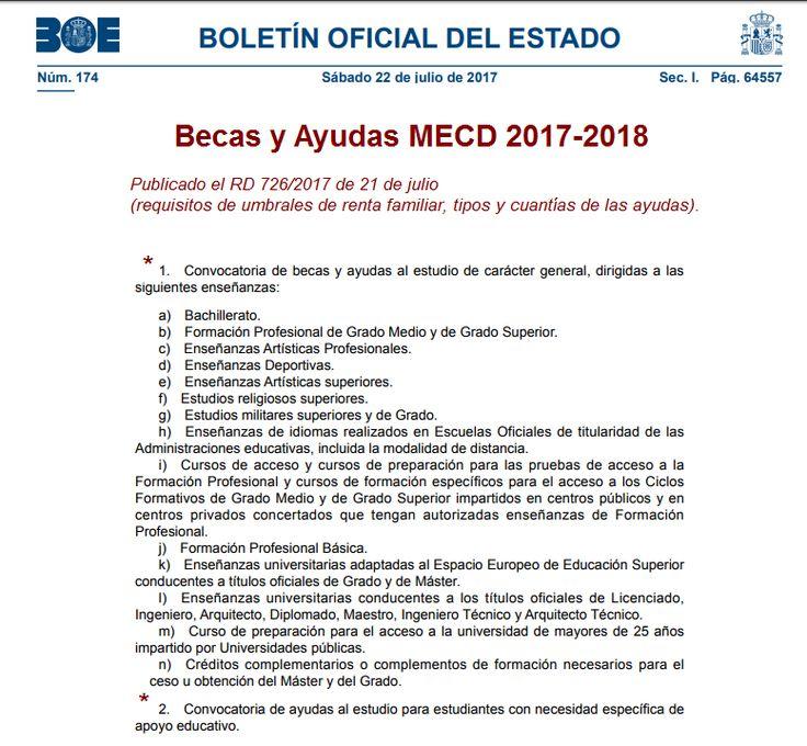#BecasMECD 2017-2018 al estudio. Publicado los Requisitos de umbrales de renta, tipos y cuantías de las #ayudas