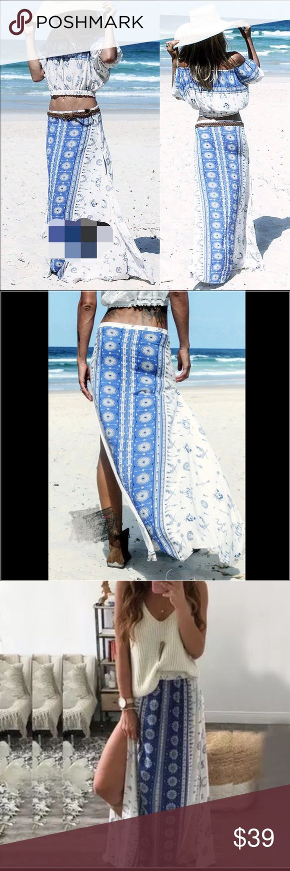 """Boho patterned pretty  maxi skirt Spell & The Gypsy collective """" has similar Styles. This unique skirt is super chic and pretty for your spring break and summer trip to the wild beach or desert. Size M: length: 37.5, butt 52.7"""" waist stretch from22.8-45.6. Lined length: 11"""". Size XL length: 37.5, butt 49.5, waist stretch from. 26-48.8"""" Lined length: 11"""".. Material: rayon Boutique  Skirts Maxi"""
