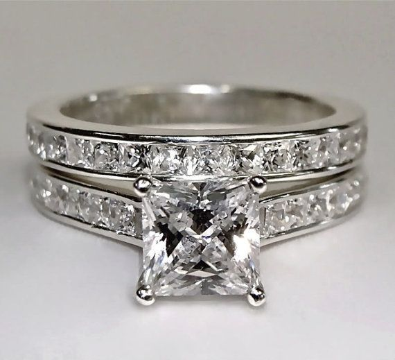 Engagement Ring Princess Cut 3 75 Carat Lab Created Diamond In Pr046 Matching Wedding Bandsprincess